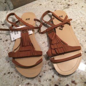 NWT! H&M fringe sandals size 8